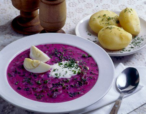 The saltibarsciai is a typical dish from Lithuania