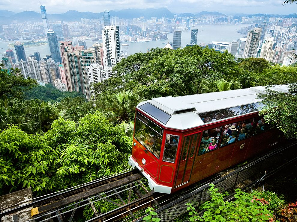 View of Peak Tram arriving at the top of the Victoria Peak.
