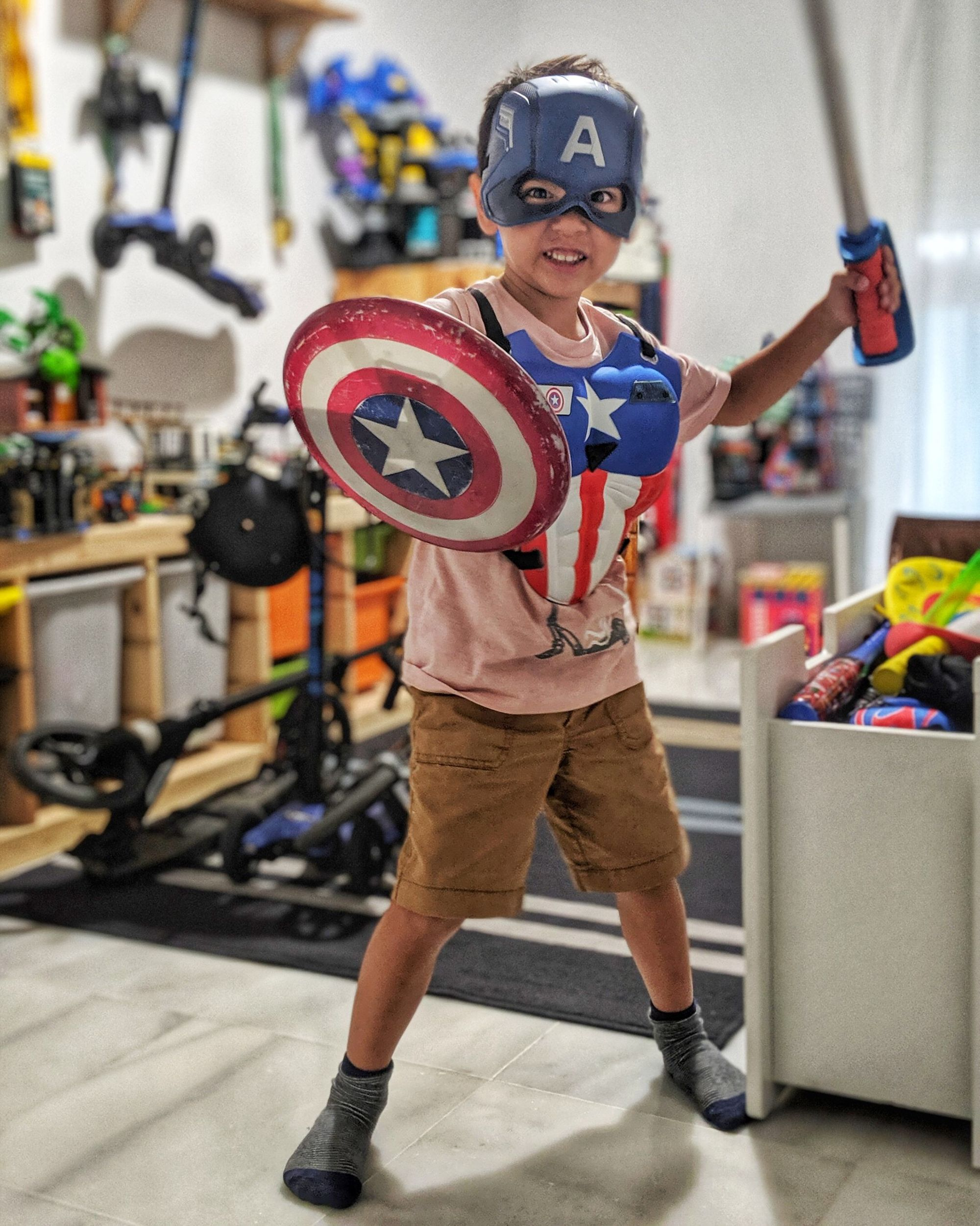Luca dressed as Captain America — travel with HomeExchange